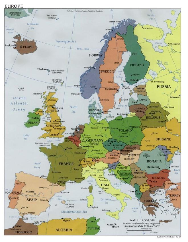 Mapa político de Europa con capitales y grandes ciudades